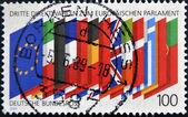1989 年頃 - ドイツ: ドイツでは、印刷スタンプは、欧州議会の第 3 選挙に捧げられて、年頃 1989 年の eu のフラグを示します — ストック写真