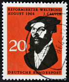 GERMANY -CIRCA 1964: A stamp printed in Germany shows John Calvin, influential French theologian and pastor during the Protestant Reformation, circa 1964. — Stock Photo