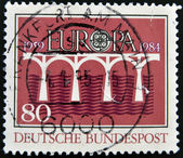 GERMANY-CIRCA 1984:A stamp printed in Germany dedicated to europe shows bridge, circa 1984. — Stock Photo