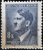 GERMANY - CIRCA 1942: A stamp printed in The Protectorate Czech and Moravia shows portrait of Adolf Hitler, circa 1942 — Stock Photo