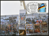 GERMANY - CIRCA 1990: A stamp printed in Germany, is dedicated to the first anniversary of the fall of the Berlin Wall, circa 1990 — Foto de Stock
