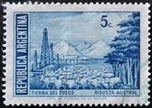 ARGENTINA - CIRCA 1959: A stamp printed in the Argentina, shows the Tierra del Fuego Province and flock of sheep, circa 1959 — Stock Photo
