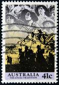 AUSTRALIA - CIRCA 1990: A stamp printed in Australia shows image of the anzac tradition, circa 1990 — Stock Photo