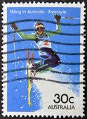 AUSTRALIA - CIRCA 2008: A stamp printed in Australia shows skiing in Australia - freestyle, circa 2008 — Stockfoto