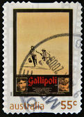 AUSTRALIA - CIRCA 2008: A stamp printed in Australia shows frame from film Gallipoli, circa 2008 — Stock Photo