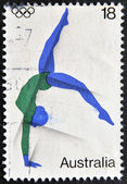 AUSTRALIA - CIRCA 2000: A stamp printed in Australia shows rhythmic gymnastics, circa 2000 — 图库照片