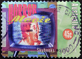 AUSTRALIA - CIRCA 1998: A stamp printed in Australia dedicated to Horror Movie, shows skyhooks, circa 1998 — Foto de Stock
