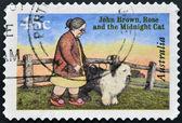 AUSTRALIA - CIRCA 1996: A stamp printed in Australia shows John Brown, Rose and the Midnight Cat, circa 1996 — Stok fotoğraf