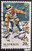 AUSTRALIA - CIRCA 1980: A stamp printed in australia shows Trout Fishing, circa 1980 — Stockfoto