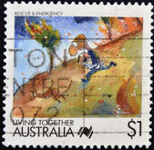 AUSTRALIA - CIRCA 1988: stamp printed in Australia, shows Cartoons, Rescue and emergency services, circa 1988 — Stock Photo