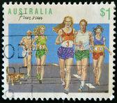 AUSTRALIA - CIRCA 1990: A stamp printed in Australia shows fun run, circa 1990 — Stock Photo