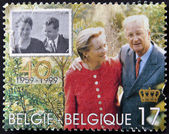 BELGIUM - CIRCA 1999: A stamp printed in Belgium shows the kings, Baudouin I and Fabiola, circa 1999 — Stock Photo