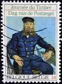 "BELGIUM - CIRCA 1990: A Stamp printed in Belgium shows the ""Postman Roulin"", by Van Gogh, circa 1990 — Stock Photo"