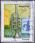 BRAZIL- CIRCA 2002: A stamp printed in Brazil shows a trumpet, circa 2002 — Stock Photo