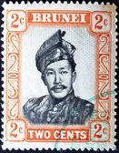 BRUNEI - CIRCA 1958: A stamp printed in Brunei shows Sultan Omar Ali Saifuddin, circa 1958 — Stock Photo