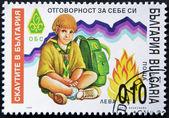 BULGARIA - CIRCA 1999: A stamp printed in Bulgaria shows a boy Scout, circa 1999 — Stock Photo