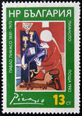 "BULGARIA - CIRCA 1982: A Stamp printed in Bulgaria shows the ""Piano"" by Pablo Picasso, circa 1982 — Stok fotoğraf"