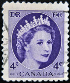 CANADA - CIRCA 1954: A stamp printed in Canada showing a portrait of Queen Elizabeth II, circa 1954. — Stock Photo