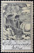 CZECHOSLOVAKIA - CIRCA 1976: A stamp printed in Czechoslovakia shows image of a sailing ship, circa 1976 — Stock Photo
