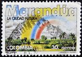 COLOMBIA - CIRCA 1984: A stamp printed in Colombia shows Marandua, the future city, circa 1984 — Foto de Stock