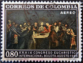 COLOMBIA - CIRCA 1968: A stamp printed in Colombia shows table with the Last Supper of Jesus, circa 1968 — Stock Photo