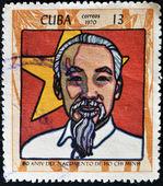 CUBA - CIRCA 1970: A stamp printed in Cuba shows Ho Chi Minh, circa 1970 — Stock Photo