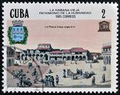 CUBA - CIRCA 1985: A stamp printed in Cuba shows Old Havana, World Heritage, circa 1985 — Stockfoto