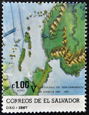 EL SALVADOR - CIRCA 1987: A stamp printed in El Salvador shows map, circa 1987 — Stockfoto