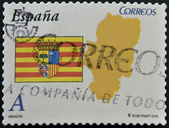 SPAIN - CIRCA 2010: A stamp printed in spain shows flag and map of the autonomous community of Aragon, circa 2010 — Zdjęcie stockowe