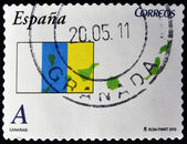 SPAIN - CIRCA 2010: A stamp printed in spain shows flag and map of the autonomous community of canary islands, circa 2010 — Stock Photo