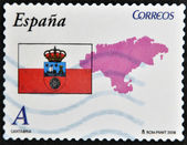 SPAIN - CIRCA 2009: A stamp printed in spain shows flag and map of the autonomous community of Cantabria, circa 2009 — Stock Photo