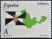 SPAIN - CIRCA 2011: A stamp printed in spain shows flag and map of the autonomous city of Ceuta, circa 2011 — Stock Photo