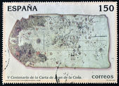 SPAIN - CIRCA 2000: A stamp printed in Spain shows map of Juan de la Cosa, circa 2000 — Stock Photo