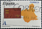 SPAIN - CIRCA 2010: A stamp printed in spain shows flag and map of the autonomous community of Murcia, circa 2010 — Stock Photo