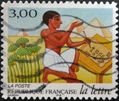 FRANCE - CIRCA 1998: A stamp printed in France shows Egyptian scribe, circa 1998 — Stock Photo