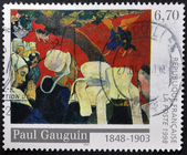 "FRANCE - CIRCA 1998: A stamp printed in France shows the work ""Vision after the Sermon"" by Paul Gauguin, circa 1998 — Stock Photo"