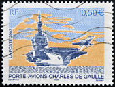 FRANCE - CIRCA 2003: A stamp printed in France shows Charles de Gaulle aircraft carrier, circa 2003 — Stok fotoğraf