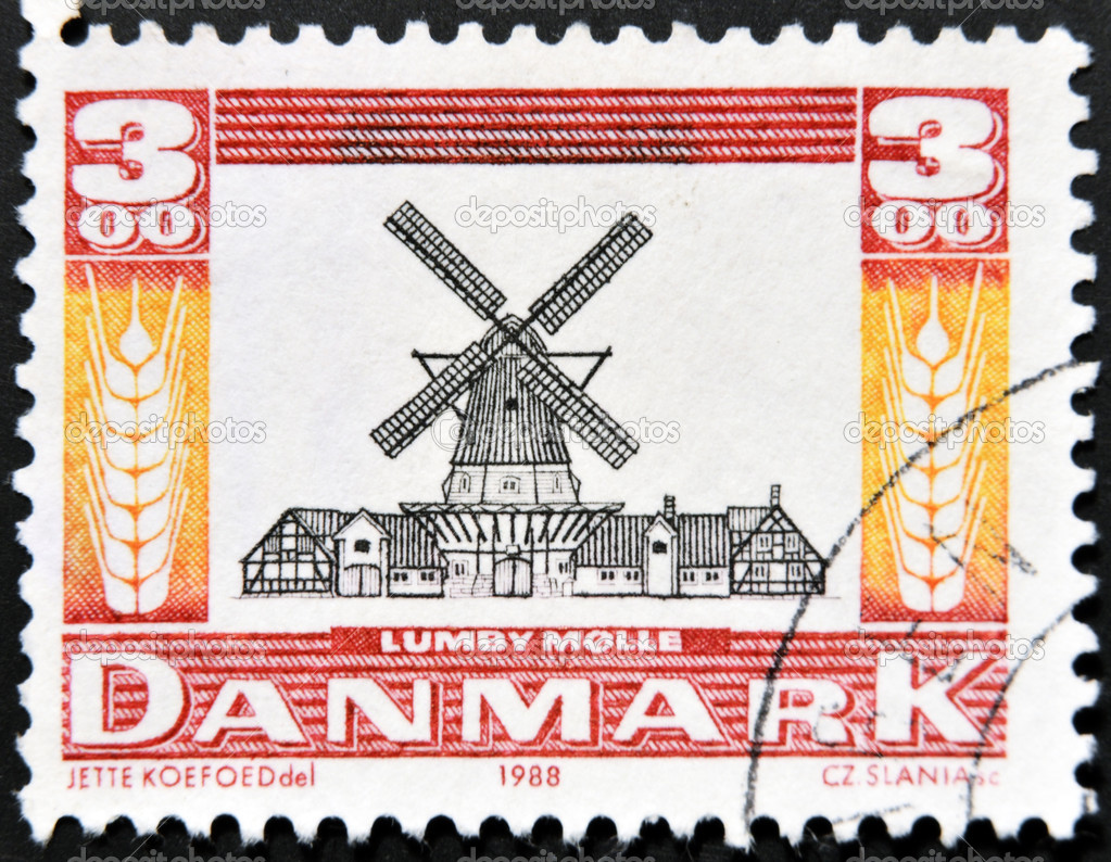 DENMARK - CIRCA 1988: A stamp printed in Denmark a Dutch windmill, lumby molle, circa 1988 — Stock Photo #9443881