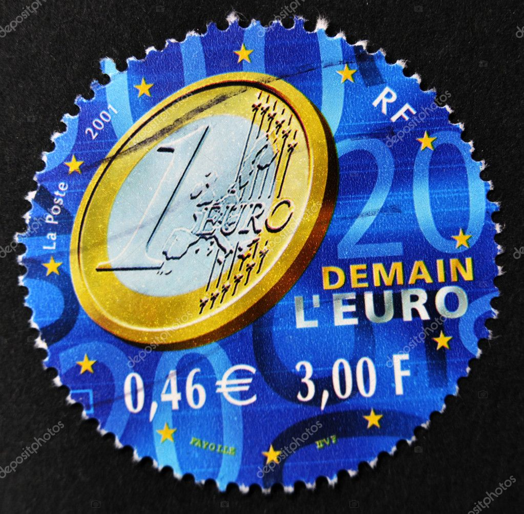 FRANCE - CIRCA 2001: A stamp printed in France shows an one euro coin, circa 2001 — Stock Photo #9444030