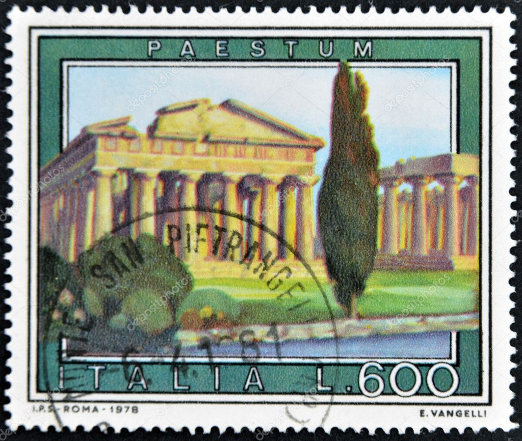 ITALY - CIRCA 1978: A stamp printed in Italy shows Paestum  Stock Photo #9444338