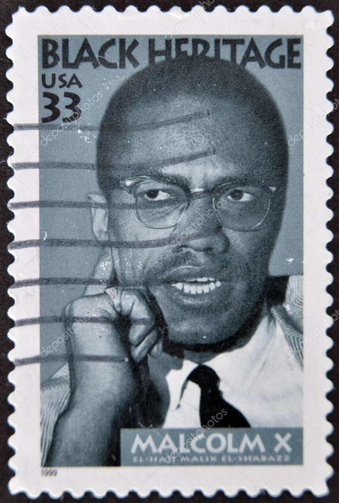 USA - CIRCA 1999 : stamp printed in USA shows Malcolm X African-American Muslim minister, black heritage, circa 1999 — Stock Photo #9445678