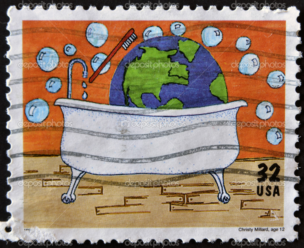 UNITED STATES OF AMERICA - CIRCA 1995: A stamp printed in USA dedicated to 25th anniversary of Earth day, shows a child's drawing of Christy Millard, age 12, circa 1995  Stock Photo #9445854