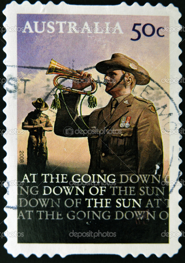 AUSTRALIA - CIRCA 2008: A stamp printed in Australia shows bugler, circa 2008 — Stock Photo #9448952