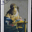 Постер, плакат: FRANCE CIRCA 1982: A stamp printed in France shows painting of Johan Vermeer The Lacemaker circa 1982