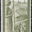 Stock Photo: GREECE - CIRC1970: stamp printed in Greece shows statue of Ceres overlooking agricultural field, circ1970