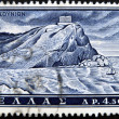 Royalty-Free Stock Photo: GREECE - CIRCA 1961: A stamp printed in Greece from the Landscapes and Ancient monuments issue showing the Poseidon temple at Sounio, circa 1961.
