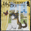 ALDERNEY - CIRCA 1990: A stamp printed in Alderney, Bailiwick of Guernsey, shows cat watching a butterfly in the window, circa 1990 — Stock Photo