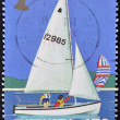 GUERNSEY - CIRC1992: stamp printd in Guernsey shows sailboat, circ1992 — Stock Photo #9450061