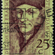 Royalty-Free Stock Photo: Holland - CIRCA 1990: A stamp printed in the Netherlands shows Erasmus of Rotterdam, circa 1990