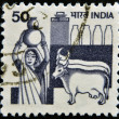 INDIA - CIRCA 1965: A stamp printed in India shows Woman with a jug of milk and cows, circa 1965 — Stock Photo